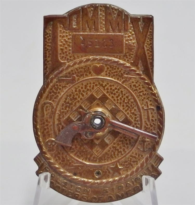 Lot 109: 1941 TOM MIX Ralston Straight Shooters Decoder Badge with Rotating Pistol, 2""