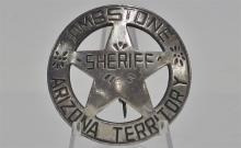 "Lot 112: TOMBSTONE ARIZONA Territory Sheriff Badge, 1-7/8"" Domed"