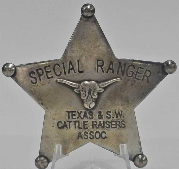 "SPECIAL RANGER Badge, Texas & S.W. Cattle Raisers Assoc. 3"" Star"