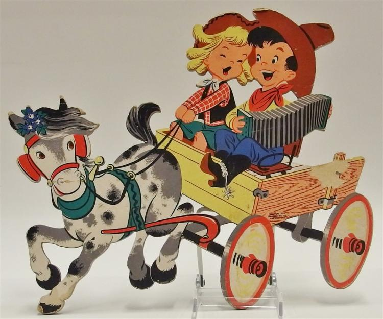 Vintage 1952 THE DOLLY TOY Co. Cowboy Kids Cardboard Pinups Wall Art, 15 x 12