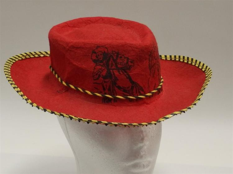 Lot 119: Red Felt ROY ROGERS & DALE EVANS Cowboy Hat, Stenciled, Child's Small