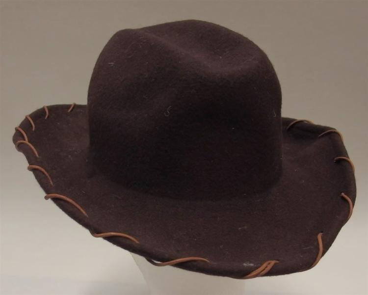 Lot 121: Vintage Brown Wool Cowboy Hat, Child's Small