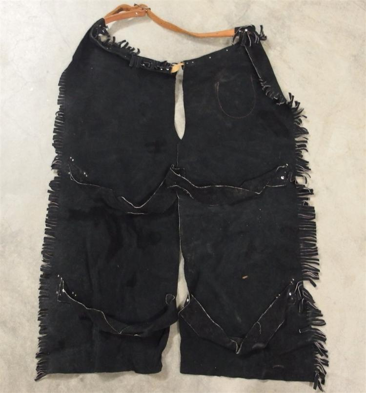"""Lot 122: Black Suede Chaps with Red Studded Steer Head Accents, Leather Belt, Child's 26""""L"""