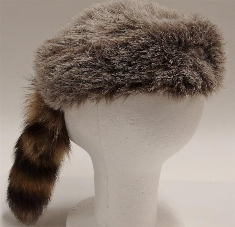 Vintage DAVY CROCKETT Faux Fur Hat with Raccoon Tail, Small