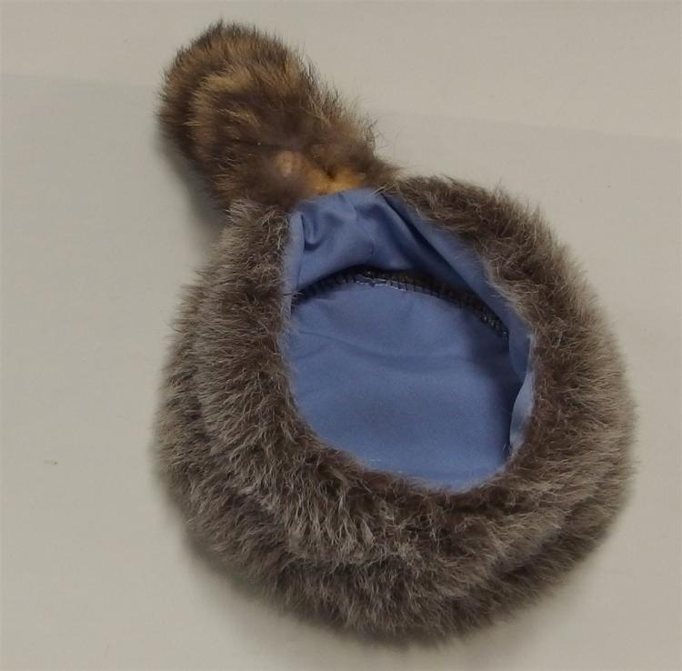 Lot 123: Vintage DAVY CROCKETT Faux Fur Hat with Raccoon Tail, Small