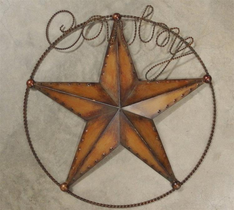 "Wrought Iron & Metal Cowboy Star, 20""D"