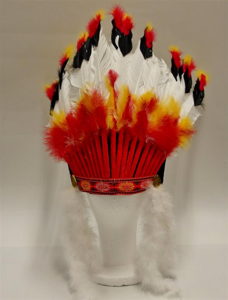 "Indian Headdress, 17"" long Feathers, New"