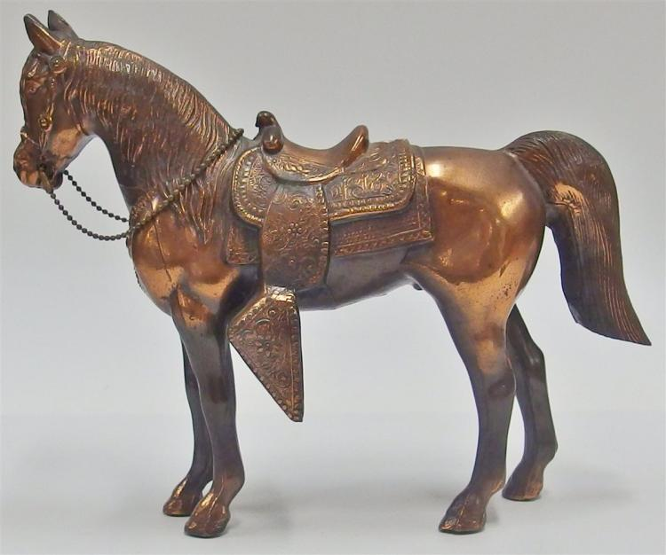 "Lot 127: Vintage Carnival Prize Horse, Copper Finish, 9-1/2""L"