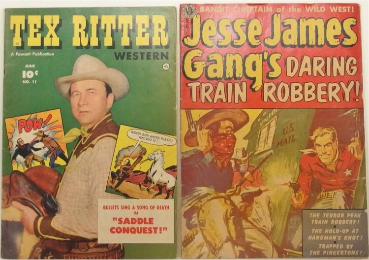 2 Western Comic Books - TEX RITTER 1952 Vol 2 #11 - JESSE JAMES 1952 Vol 1 #8 - Fawcett / An Avon Periodical