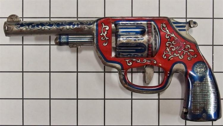"1950 Wyandotte Pressed Steel Toy Clicker Gun, 8""L"