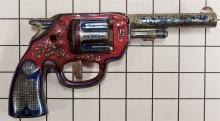 "Lot 138: 1950 Wyandotte Pressed Steel Toy Clicker Gun, 8""L"