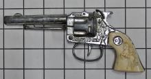 "Lot 144: Crescent RUSTLER GEM Toy Cap Gun, England, White Bronco Buster Grips, 7""L"