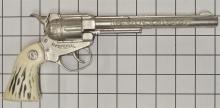 Lot 145: 1955-60 Esquire-Actoy SPECIAL Repeater Toy Cap Gun, Rare Long Barrel, Stag Grips,