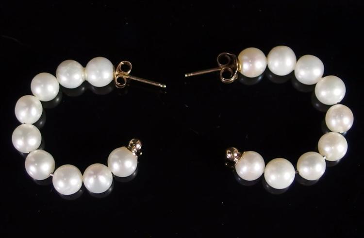14K Gold Pearl Hoop Earrings