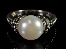 Lot 2: Sterling Silver Mabe Pearl Ring, Size 7-1/2
