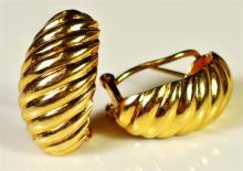 "Lot 3: 14K Gold Earrings, 3/4"". 6.5g"