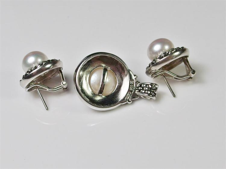 Lot 6: Silver Pearl Earrings & Pendant Set