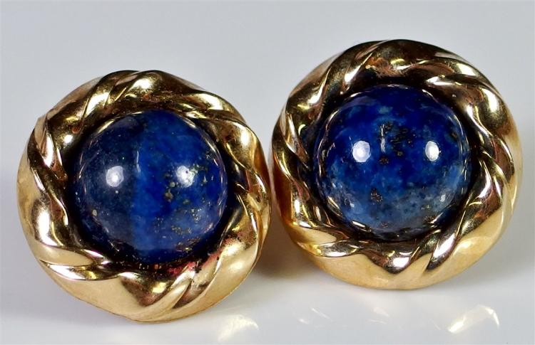 Lot 7: Peter Brams Designs 14K Gold Lapis Lazuli Earrings, 7/8""