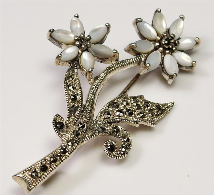 Sterling Silver Marcasite & Mother of Pearl Flower Brooch, 2-1/8""