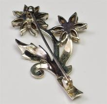 """Lot 8: Sterling Silver Marcasite & Mother of Pearl Flower Brooch, 2-1/8"""""""
