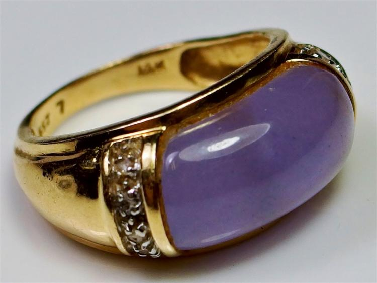14K Gold Lavender Jade Cabochon & Diamond Ring, Size 8