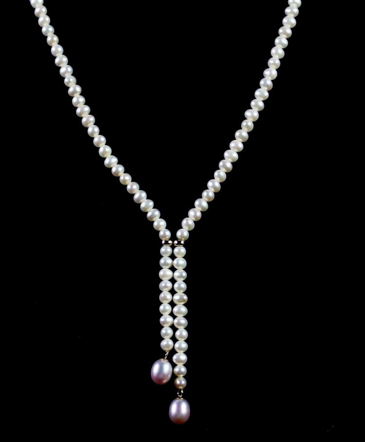 Lot 10: 14K Gold Pearl Necklace with drops, 16""