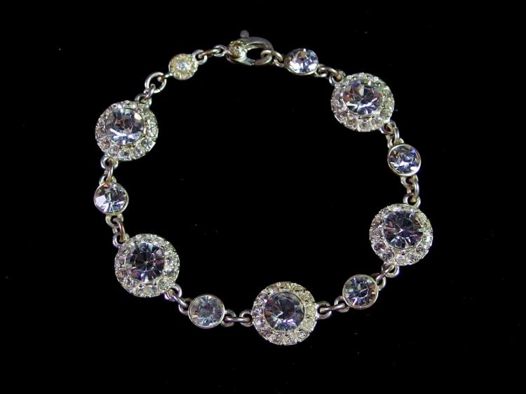 "Monet Rhinestone Chain Bracelet, 7"""