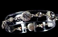 "Lot 11: Monet Rhinestone Chain Bracelet, 7"""