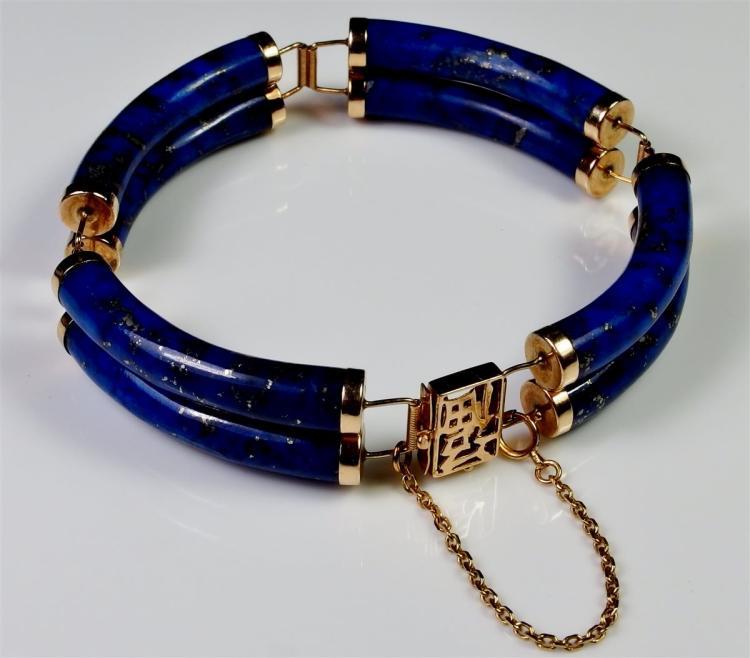 14K Gold Lapis Lazuli Bracelet,