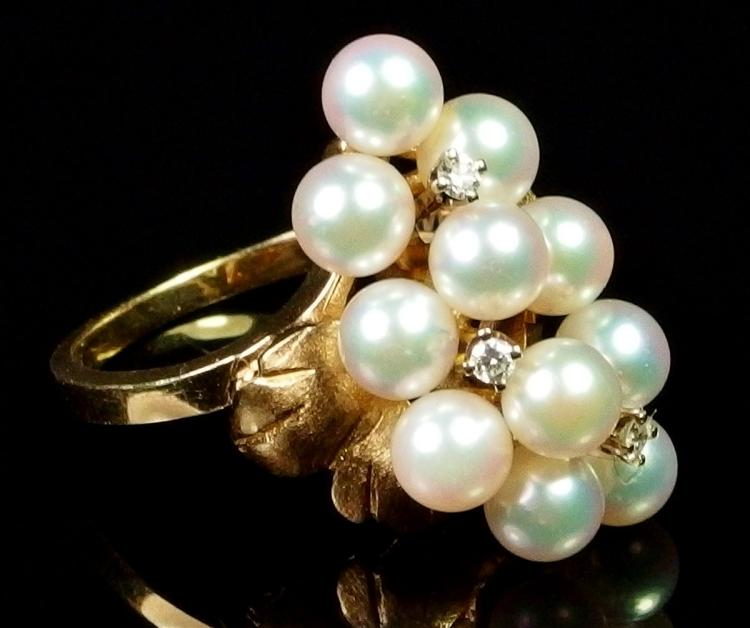 14K Gold Pearl Cluster & Diamond Ring, Size 7