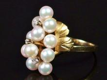 Lot 14: 14K Gold Pearl Cluster & Diamond Ring, Size 7