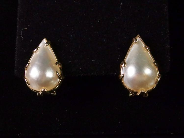 Lot 16: 14K Gold Pear-cut Mabe Pearl Earrings,