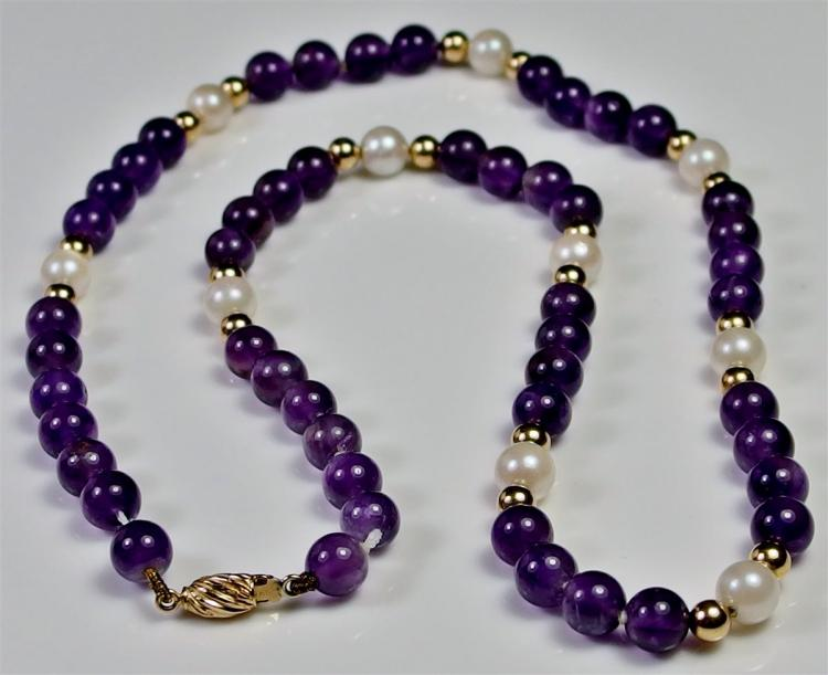 14K Gold Amethyst & Pearl Necklace, 18""