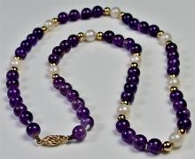 """Lot 17: 14K Gold Amethyst & Pearl Necklace, 18"""""""