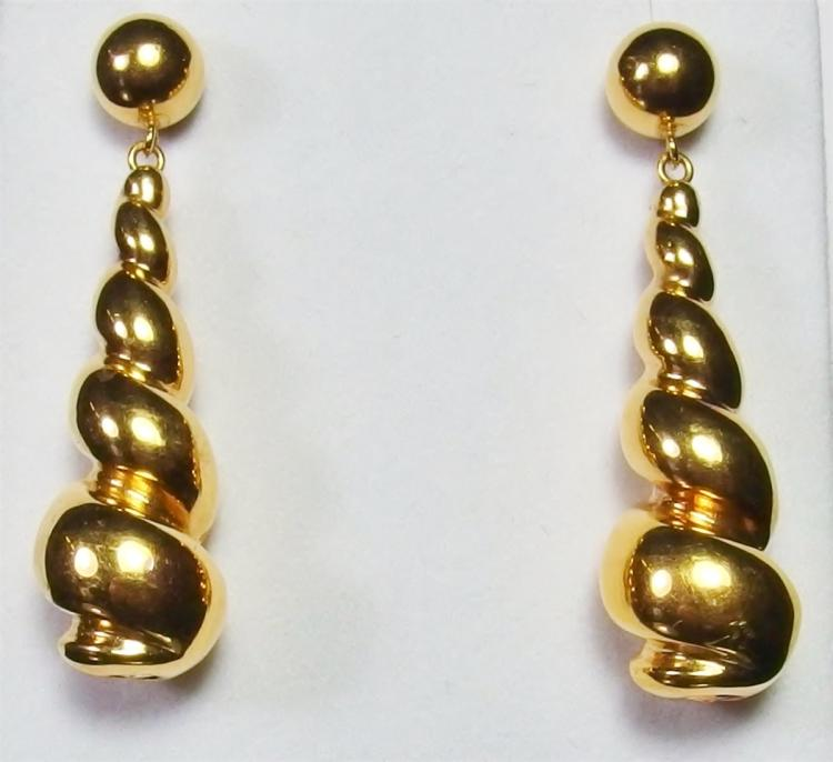 "Lot 18: 14K Gold Twist Drop Earrings, 1-3/4"". 4.5g"