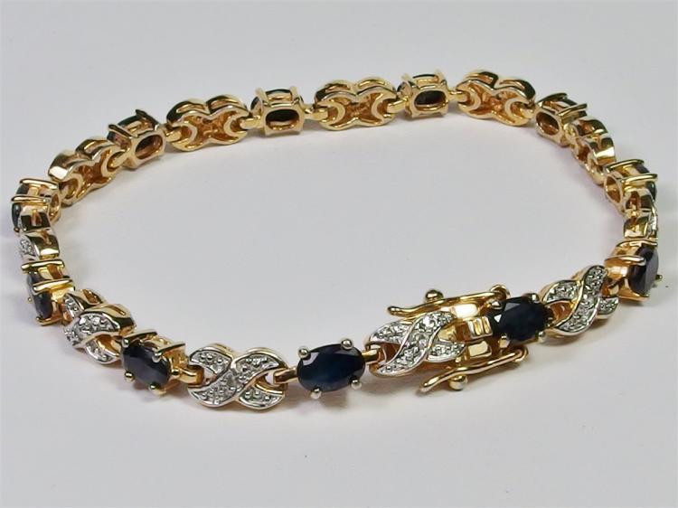 "Sterling Silver w/ 14K Gold Overlay Sapphire Diamond XO Bracelet, 7-1/4"""
