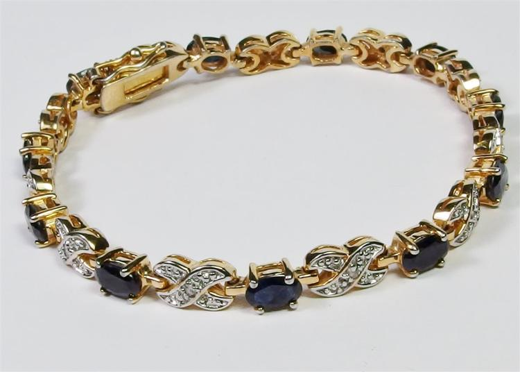 "Lot 20: Sterling Silver w/ 14K Gold Overlay Sapphire Diamond XO Bracelet, 7-1/4"""