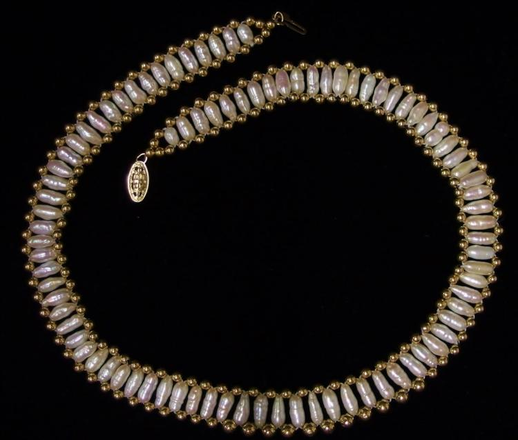 """Lot 21: 14K Gold Seed Pearl Choker Necklace 16"""""""