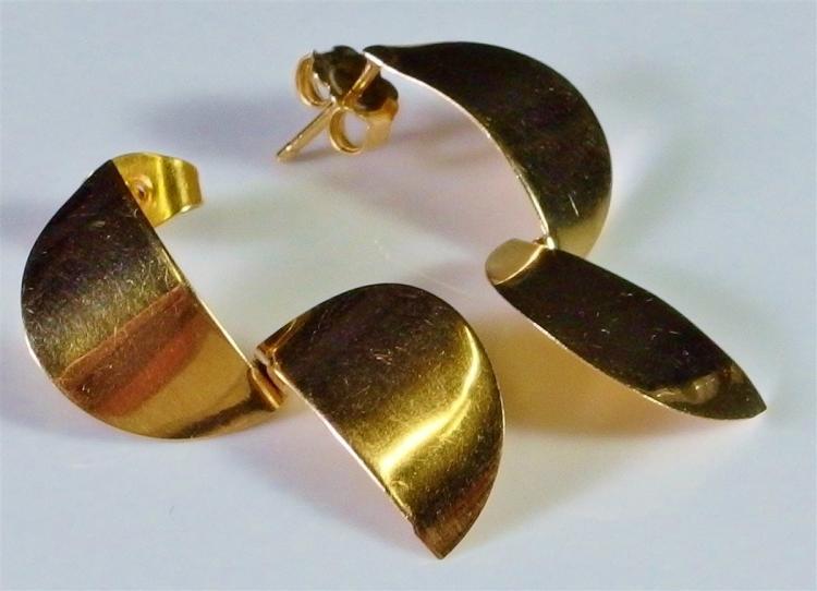 "Lot 23: 14K Gold Earrings, 1-1/4"". 2.7g"