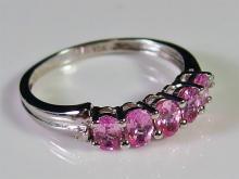 Lot 24: 10K White Gold Madagascar Pink Sapphires & Diamond Ring, Size 7-1/2