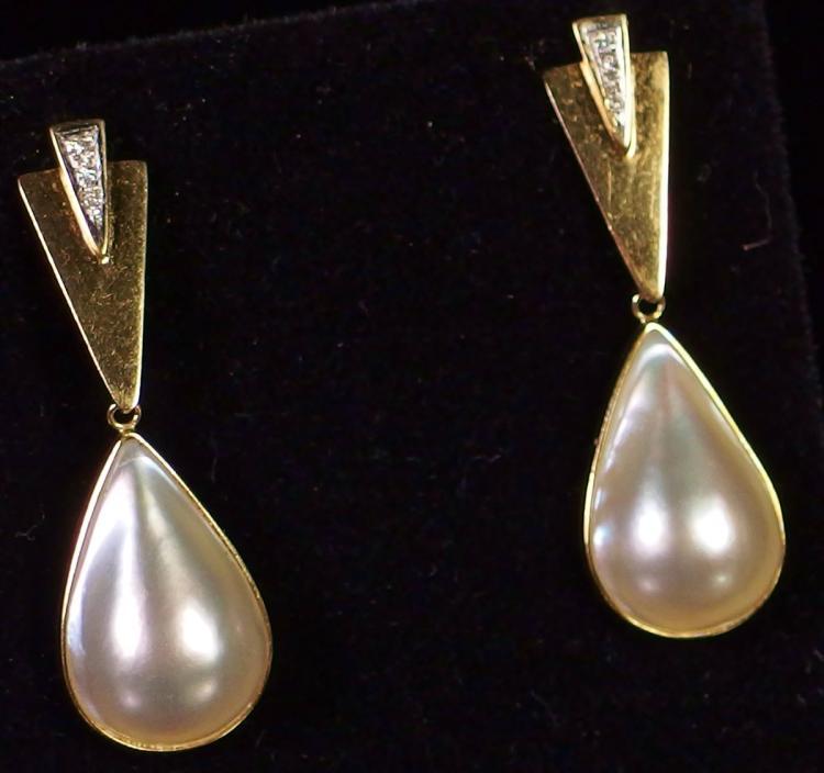 "14K Gold Mabe Pearl Diamond Earrings, 1-5/8"""