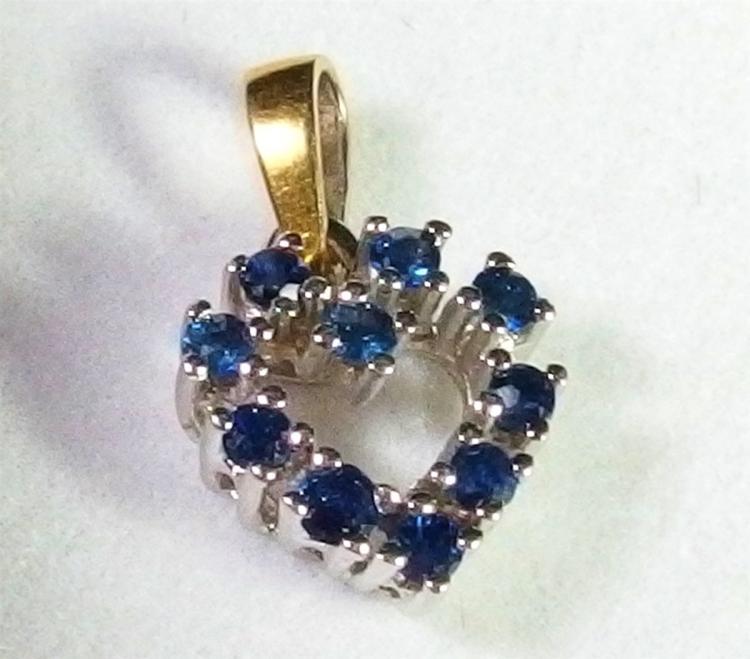 "14K White Gold Sapphire Heart Pendant, 5/8"""