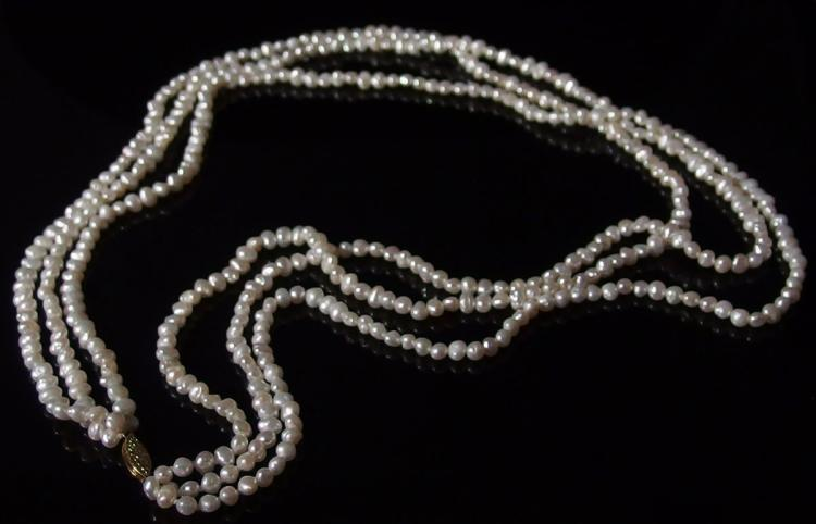 """14K Gold 3-Strand Pearl Necklace, 24"""""""