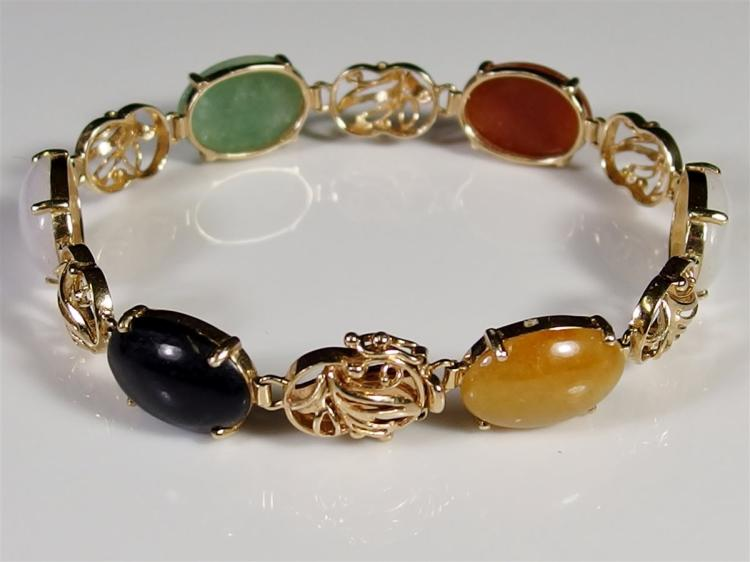 """14K Gold Multi Color Jade Cabochon Bracelet.7"""""""