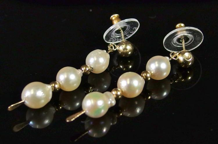 "Lot 32: Gold & Pearl Earrings, 1-1/2"", Unmarked"