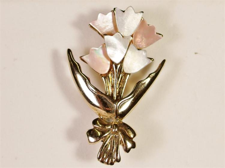 Vintage Tulip Flower Brooch with Mother of Pearl, 1-3/4""