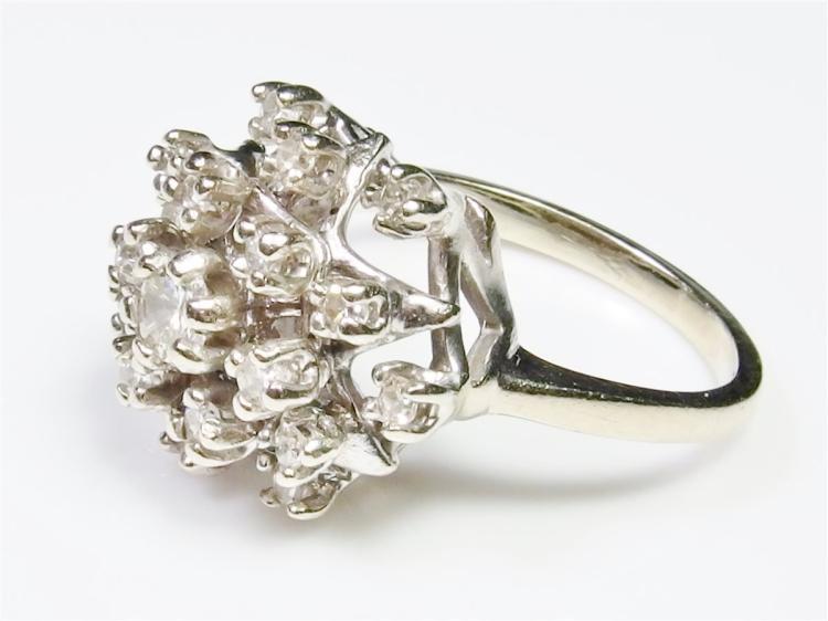 14K White Gold Diamond Cocktail Ring, Size 7