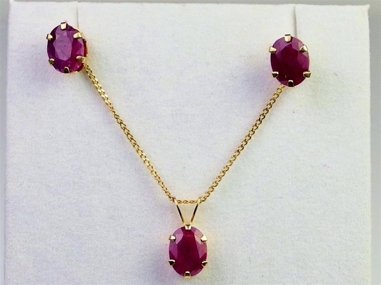 Lot 38: 14K Gold Ruby Necklace & Earring Set, Each ruby is 1/3cts