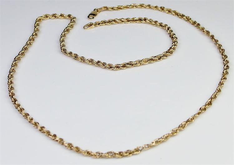 "10K Gold Rope Chain, 20"". 2.7g"