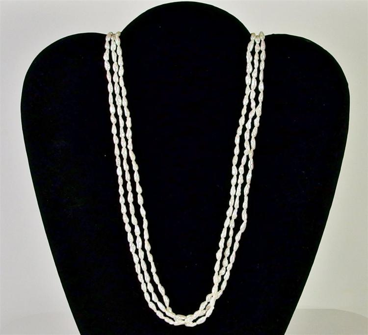 Lot 40: 3-Strand Pearl Necklace, 32""
